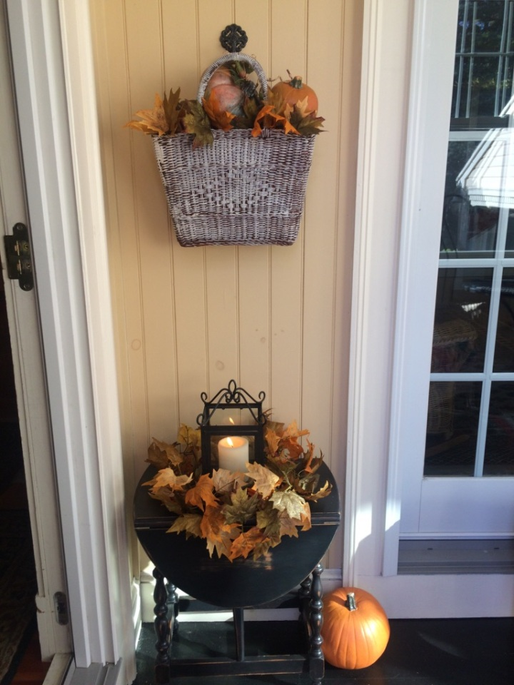 fall porch table and wall decor