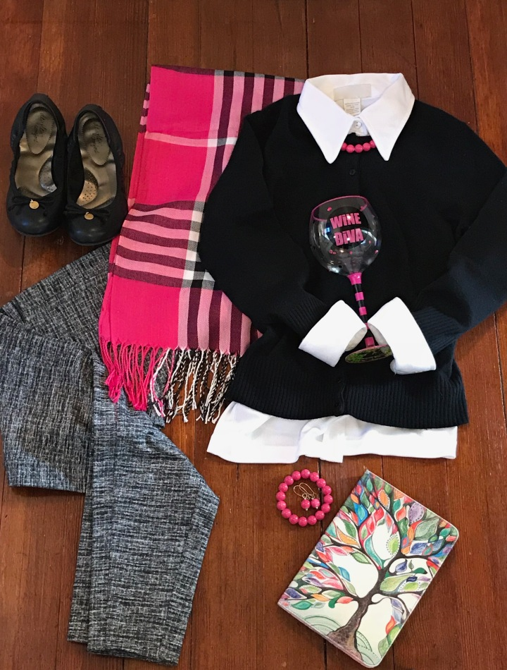 pink plaid scarf outfit