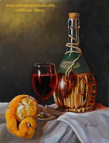 lemon and chianti bottle