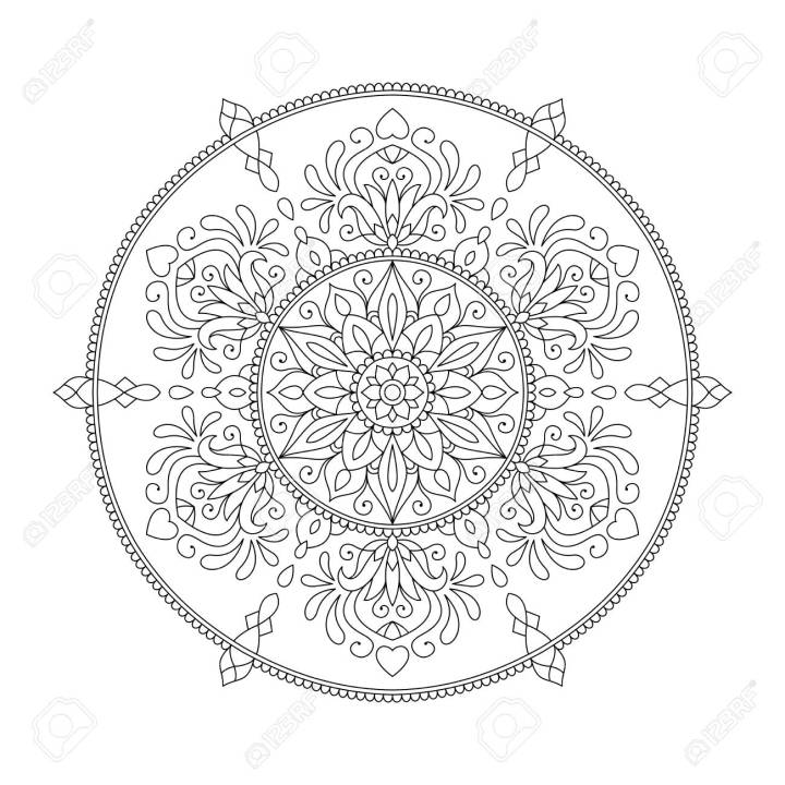 Mandala Coloring Page Flower Design Element for Adult Color Book